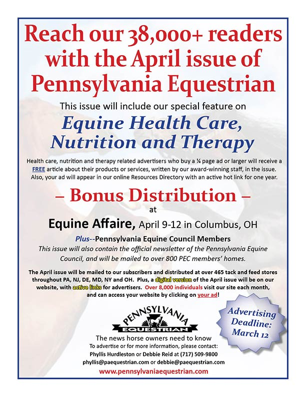 Look what�s coming up in the Pennsylvania Equestrian April 2015