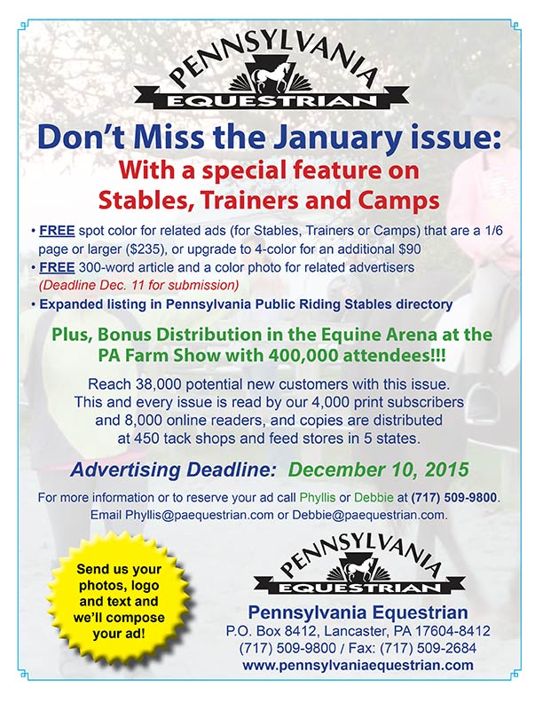 Look at what�s coming up in the Pennsylvania Equestrian January 2016