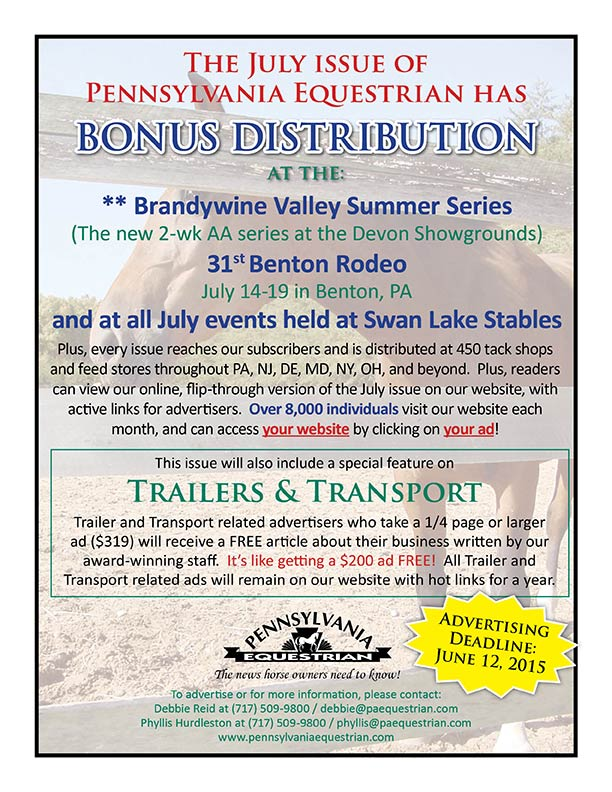 Look at what�s coming up in the Pennsylvania Equestrian July 2015
