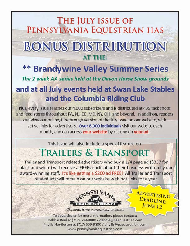 Advertise in the July 2017 issue of Pennsylvania Equestrian