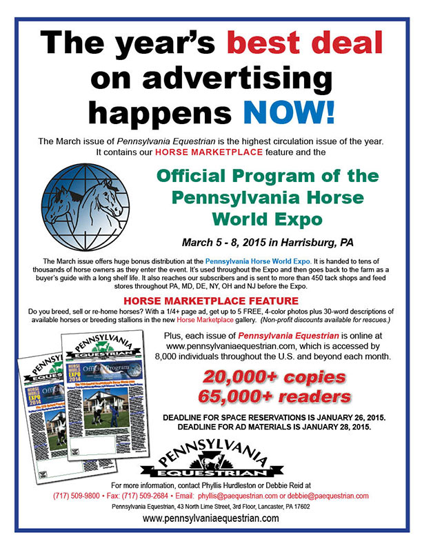 Look what�s coming up in the Pennsylvania Equestrian March 2015