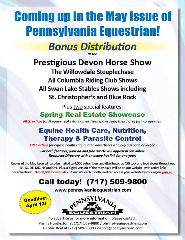 Advertise in the May 2017 issue of Pennsylvania Equestrian