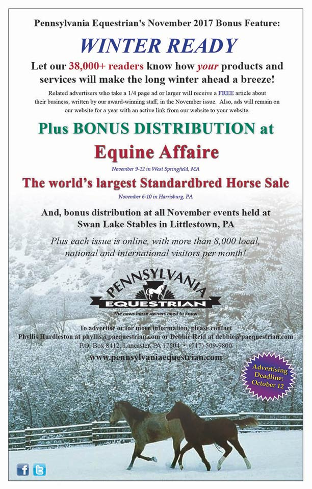 Advertise in the November 2017 issue of Pennsylvania Equestrian