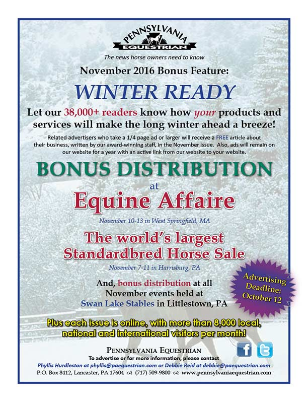Advertise in the November 2016 issue of Pennsylvania Equestrian