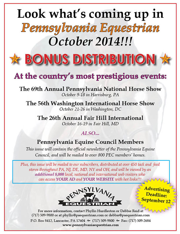 Look what�s coming up in the Pennsylvania Equestrian October 2014