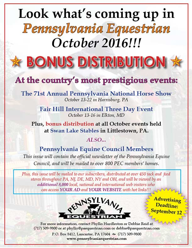 Advertise in the October 2016 issue of Pennsylvania Equestrian
