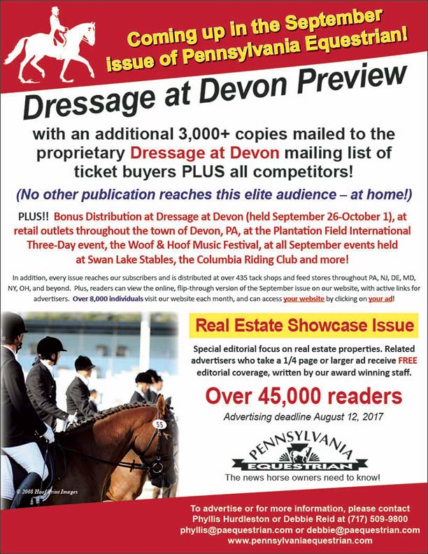 Advertise in the September 2017 issue of Pennsylvania Equestrian