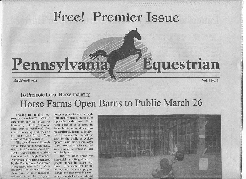 First printed Pennsylvania Equestrian issue cover
